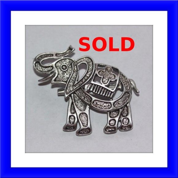 Vintage JJ Jonette White Enamel Elephant Pin Brooch